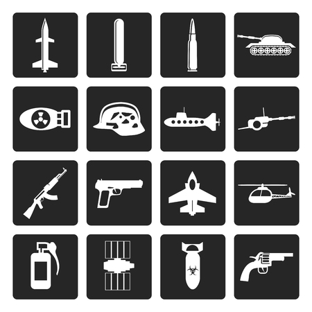 chaser: Black Simple weapon, arms and war icons - Vector icon set