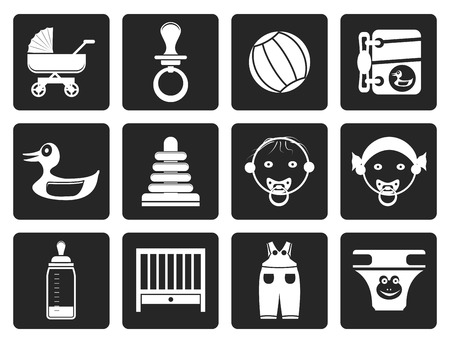 swaddling clothes: Black Child, Baby and Baby Online Shop Icons - Vector Icon Set