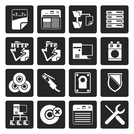 server side: Black Server Side Computer icons - Vector Icon Set Illustration