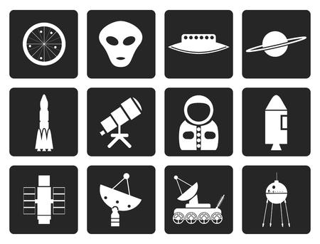 astronautics: Black Astronautics and Space Icons - Vector Icon Set