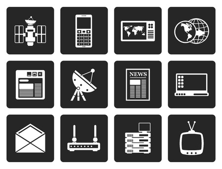 communication icons: Black Communication and Business Icons - Vector Icon Set
