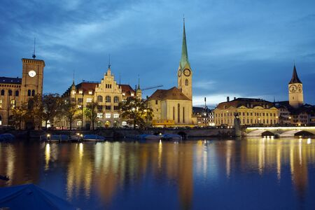 grossmunster cathedral: Amazing Night photo of Zurich and Limmat River, Switzerland