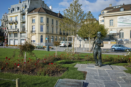 chaplin: Town of Vevey and Monument of Charlie Chaplin, canton of Vaud, Switzerland