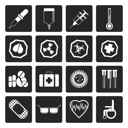 squirt: Black Simple  medical themed icons and warning-signs - vector Icon Set