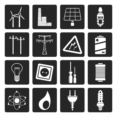 power plant: Black Electricity,  power and energy icons - vector icon set