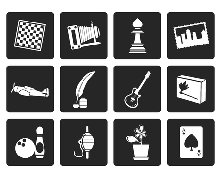 backgammon: Black Hobby, Leisure and Holiday Icons - Vector Icon Set