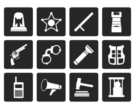 law and order: Black law, order, police and crime icons - vector icon set Illustration