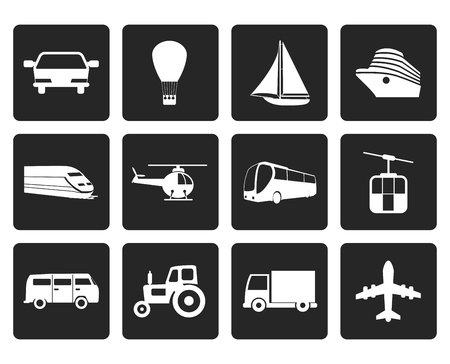 sailer: Black Transportation and travel icons - vector icon set Illustration