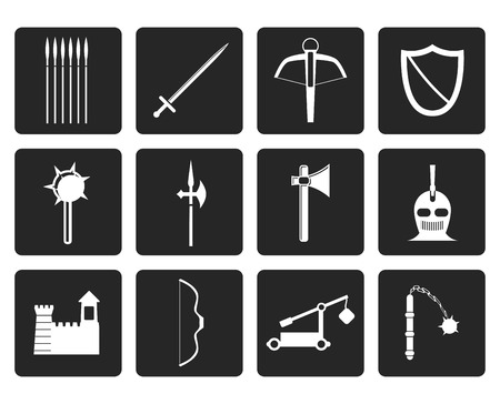 arbalest: Black medieval arms and objects icons - vector icon set Illustration