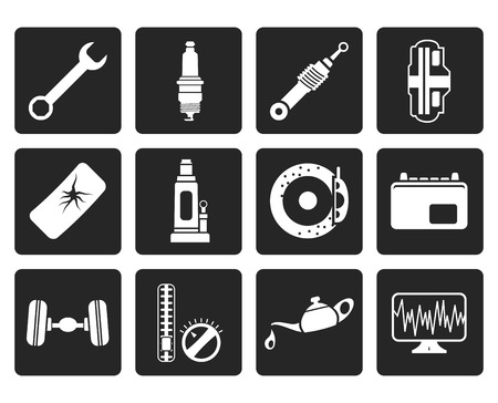 sparking plug: Black Car Parts and Services icons - Vector Icon Set 1