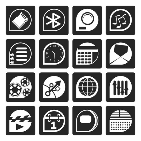 clock radio: Black Mobile phone  performance, internet and office icons - vector Icon Set