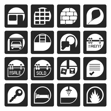 car for sale: Black Simple Real Estate icons - Vector Icon Set