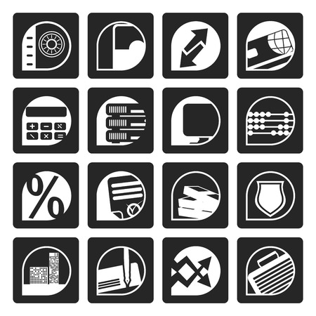 valise: Black bank, business, finance and office icons - vector icon set Illustration