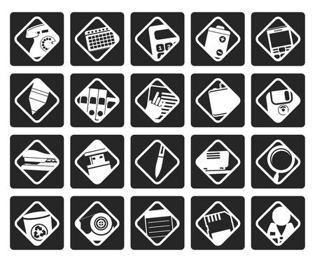 nternet: Black Office tools icons -  vector icon set 3