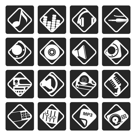 nternet: Black Music and sound icons -  Vector Icon Set