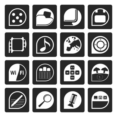 polyphony: Black Phone Performance, Internet and Office Icons - Vector Icon Set Illustration