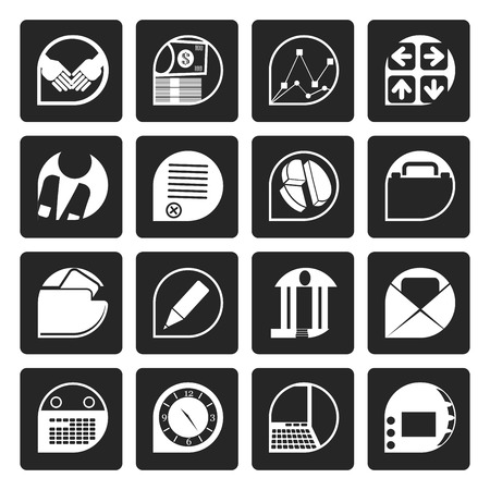 pensil: Black Business and office icons - vector icon set