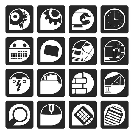 mouse pad: Black Computer, mobile phone and Internet icons -  Vector Icon Set