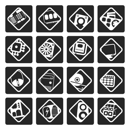 computer equipment: Black Computer  performance and equipment icons - vector icon set