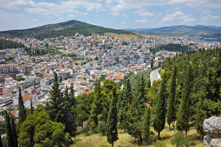 lamia: Panoramic view of Lamia City, Central Greece Stock Photo