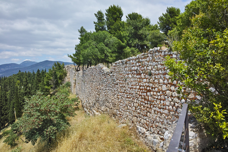 lamia: Wall of the castle of Lamia City, Central Greece Stock Photo