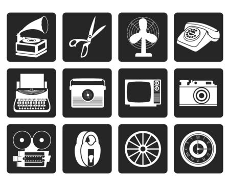 antiquarian: Black Retro business and office object icons - vector icon set