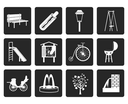 stroll: Black Park objects and signs icon - vector icon set