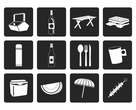 repose: Black Picnic and holiday icons - vector icon set Illustration