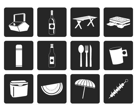 bread basket: Negro Iconos de picnic y vacaciones - conjunto de iconos vectoriales