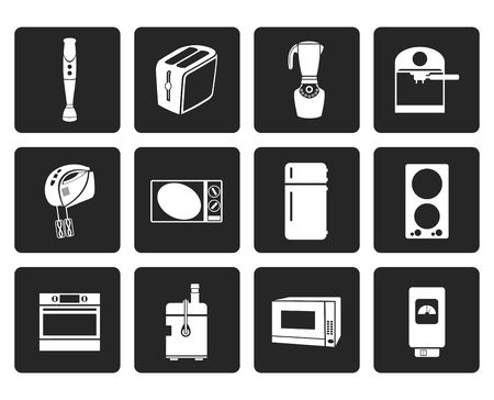 icebox: Black Kitchen and home equipment icons - vector icon set Illustration