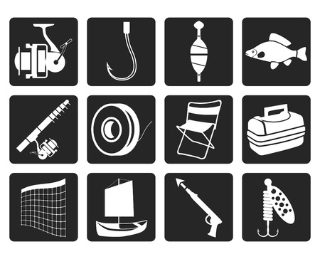 Black Fishing and holiday icons - vector icon set Illustration