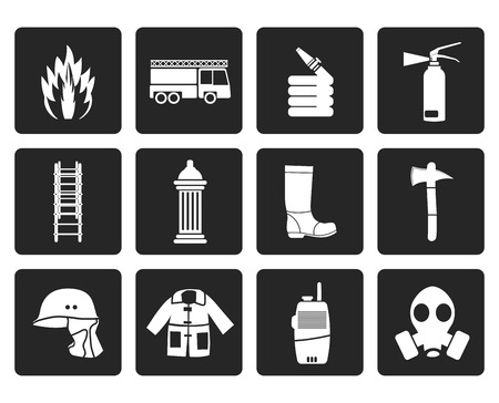 conflagration: Black fire-brigade and fireman equipment icon - vector icon set