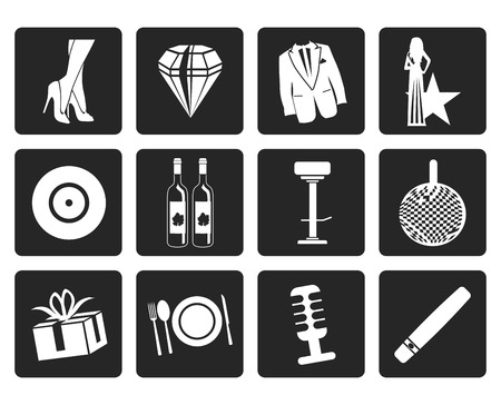 tailcoat: Black Luxury party and reception icons - vector icon set