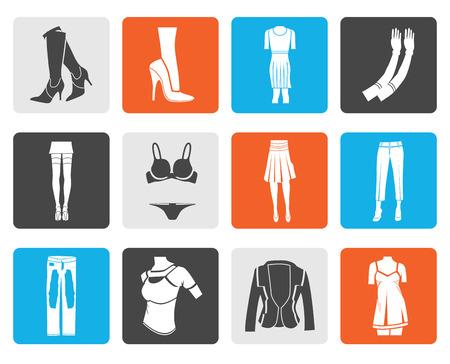 Schwarze Frau und weibliche Kleidung Symbole - Vektor-Icon-Set