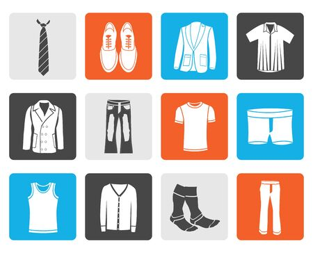 greatcoat: Black man fashion and clothes icons - vector icon set