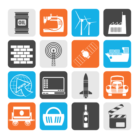 satellite transmitter: Black Business and industry icons- vector icon set
