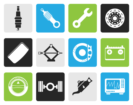 sparking plug: Black Realistic Car Parts and Services icons - Vector Icon Set 1