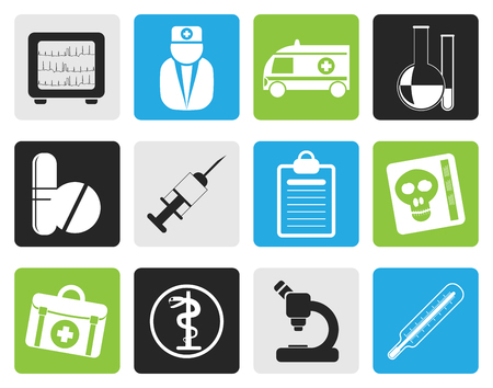 taking pulse: Black Medical and healthcare Icons Vector Icon Set