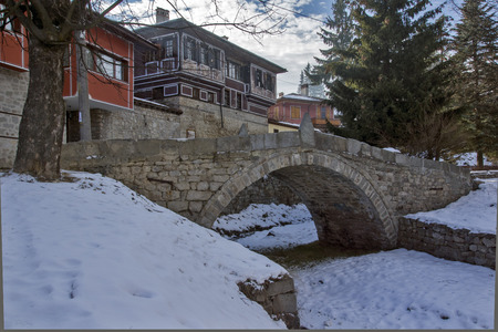 old houses: The bridge which began April Uprising in historical town of Koprivshtitsa, Sofia Region, Bulgaria