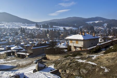ethnographical: Panoramic View of historical town of Koprivshtitsa, Sofia Region, Bulgaria Stock Photo