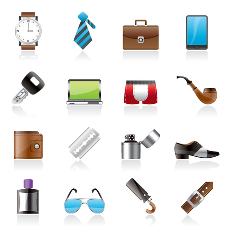 accessory: Male accessories and clothes icons- vector icon set Illustration