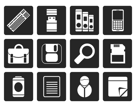 valise: Black Business and Office tools icons - vector icon set 3