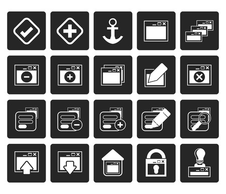 lighting button: Black Application, Programming, Server and computer icons - vector Icon Set 1 Illustration