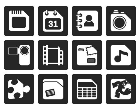 mobile internet: Black Mobile Phone, Computer and Internet Icons - Vector Icon Set Illustration