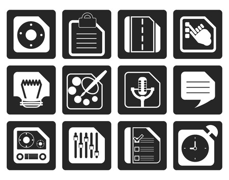 mobile internet: Black Mobile Phone, Computer and Internet Icons - Vector Icon Set 3