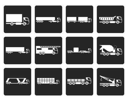 tanker type: Black different types of trucks and lorries icons - Vector icon set