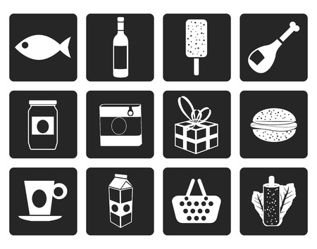 tinned: Black Shop, food and drink icons 1 - vector icon set