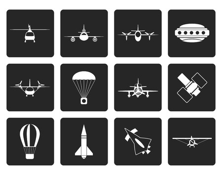 flying boat: Black different types of Aircraft Illustrations and icons - Vector icon set 2