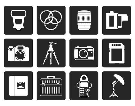 Black Photography equipment icons - vector icon set