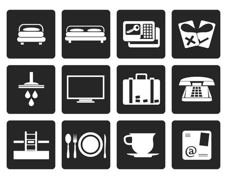 suite: Black Hotel and motel icons  - Vector icon Set